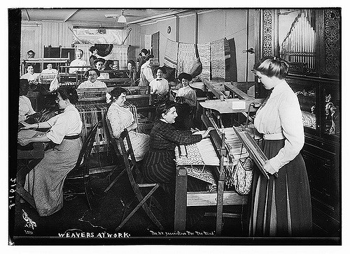 Weavers at Work. 1910. Photographer-Byron, NY.
